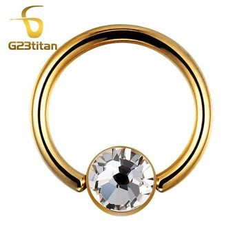 G23titan Gold Color Round Earrings Rings G23 Titanium Body Jewelry for Tragus Helix Lobe Piercing