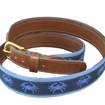 Blue Crabs Leather-backed Belt by Knot Belt Co. - FINAL SALE