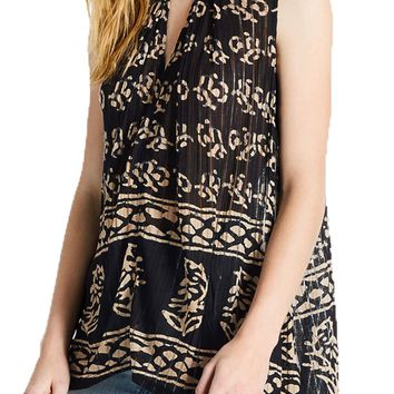 Lucky Brand Drop Needle Tunic Black Multi