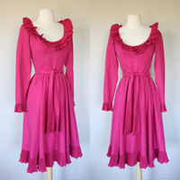 1960's Victor Costa dress, pink dress, ruffle tea length dress, X small dress, long sleeves, full skirt, scoop neck, size 4, vintage