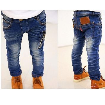 Hooyi Fashion Baby Boys Jeans Pants Children Casual Jeans For Boy Clothes Kids Jean Pocket Zipper 5 7 9 Years Top Quality