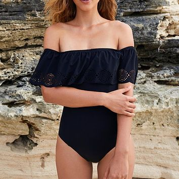 Off Shoulder Ruffle One Piece Swimsuit