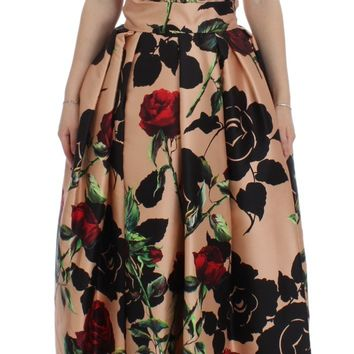 Pink Roses Floral Silk Pouf Ball Gown Dress