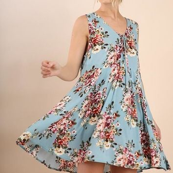 Blue Floral Lace Up Sleeveless Dress