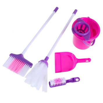 Kids Girls Toy Fun Cleaning Play Set Housekeeping Pink Sweep Miniature Dollhouse Furniture Children Gifts for Children
