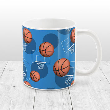 Blue Basketball Mug - Sports Themed Basketball Pattern on Blue - Basketball Coffee Mug - 11oz or 15oz - Made to Order