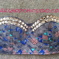 Not Available to SHIP UNTIL 1/14/2013 - Studded Bustier 36B Bra Top Tribal Print Silver - Gold - Black Studs