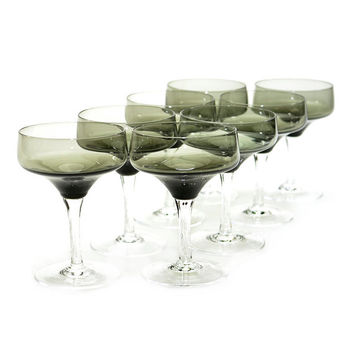 Sasaki Crystal Harmony Smoke Goblets (8) - Champagne or Cordial Glasses, Elegant Stemware - Smoky Charcoal Gray Chalice - Vintage Serving