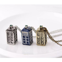 Doctor Who Tardis Necklace in Blue - Silver - or Gold Doctor Who Fan Doctor Who Gift Doctor Who Accessories