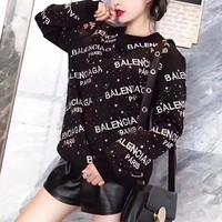 """Balenciaga"" Women Fashion Galaxy Star Rhinestones Letter Embroidery Long Sleeve Pullover Sweater Tops"