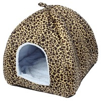 Brown Portable Leopard Print Folded Pet Dog Tent Kennel 38cm High