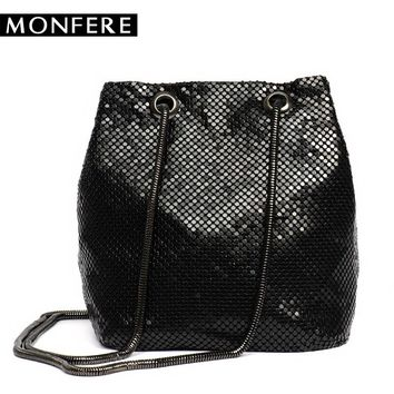 MONFERE Fashion Metallic Lady Clutch Bag With Chain Bucket Shoulder Handbags Eupropean Style Small Purse Day Evening Clutch Bags