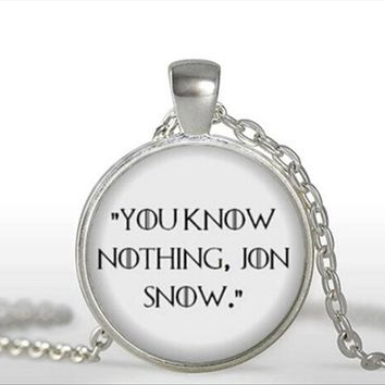 Game of Thrones Necklace You know nothing Jon Snow Book Jewelry Quote Necklaces Pendant