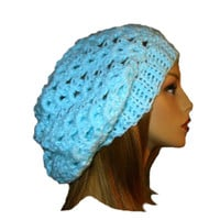 Slouchy Beanie Hat Mint Green Slouch Women Teen Pale Spring Crochet Slouch Hat