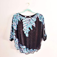 Women's Authentic Vintage Sequin Blouse from the 1980's