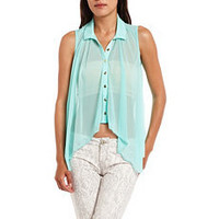 Sheer Mesh Button-Down Blouse: Charlotte Russe