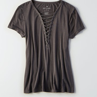 AEO Soft & Sexy Lace-Up T-Shirt, Black