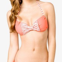 Striped Bow Bikini Top