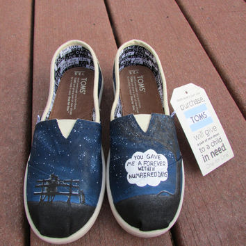 The Fault In Our Stars Custom Painted Kids TOMS Shoes