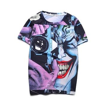 Top Quality Printed 3D T Shirts Novelty Joker Design Summer Cartoon Tee Cool Tee Tops Clothes For Mens/Womens 16#