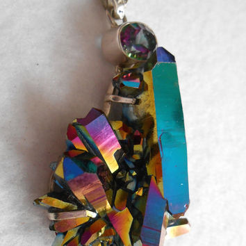 Statement Pendant- Cosmic Rainbow of Colors. Titanium Crystal Quartz with Large Oval Mystic Topaz.