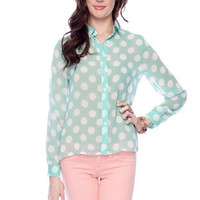 Dot Com Blouse in Mint :: tobi