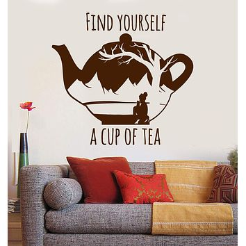 Vinyl Wall Decal Cup of Tea Inspiration Quote Oriental Teapot Stickers Unique Gift (ig3412)