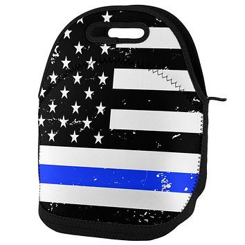 Distressed Thin Blue Line American Flag Lunch Tote Bag