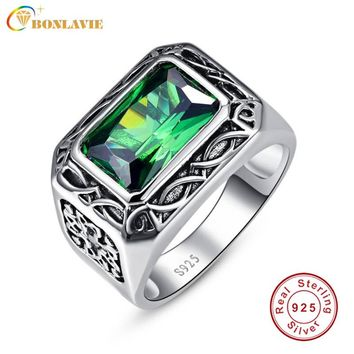 Fine 6.8Ct Nano Russian Emerald Ring For Men Solid 925 Sterling Sliver Jewelry Engagement Wedding Ring For Men Size 6-Size14