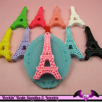 5 pieces Paris EIFFEL TOWER Resin Flatback Cabochon or Charm 47 x 23 mm