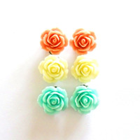 Rose Earrings Set, Studs OR Clip on Mint Coral Lemon Vintage Flower posts clip-ons non pierced clips