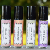 EARTHY Perfumes Set - Hippie Incense Scents - Patchouli Nag Champa Sandalwood Frankincense