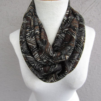Zigzag Infinity Scarf - Modern Tribal Print Scarf - Black, Grey and Brown Infinity Scarf