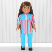 Pink and Turquoise Shirt and Leggings for 18 inch Dolls with Stripes American Doll Clothes