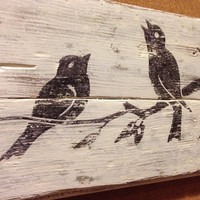 Reclaimed wood wall art with vintage bird graphic - shabby chic wall hanging with bird graphic