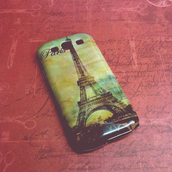 Samsung Galaxy S3 /  S III  / i9300 Vintage Watercolor Paris Eiffel Tower Case