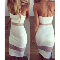 solid color sexy bandage stitching dress