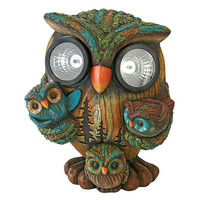 Park Avenue Collection Bright Eyes Owl Family Solar Statue