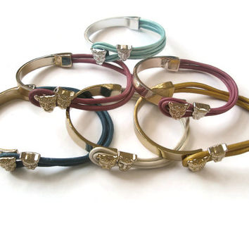 Bracelet Leather Leopard Zamak Rose Gold Silver Adjustable Pink wrap Yellow Ivory Blue