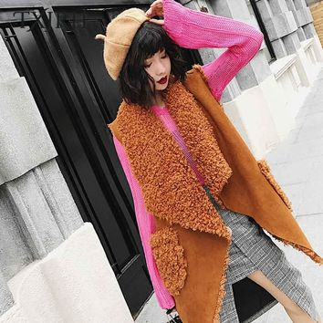 TXJRH Stylish Lapel Double-faced Irregular Hem Curly Hairy Shaggy Faux Fur Vest Winter Women Sleeveless Coat Mid Long Outerwear