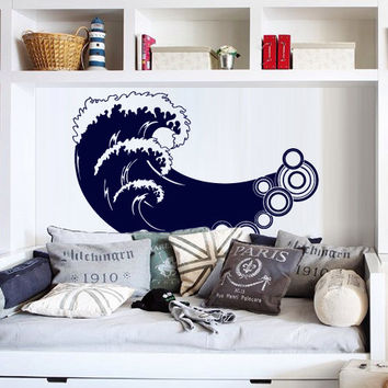 Wall Decal Vinyl Sticker Art Decor Waves Bid Wave Surf Ocean Sea Nature Salior Beautiful View water Bedroom Dorm Office Nursery (m1392)