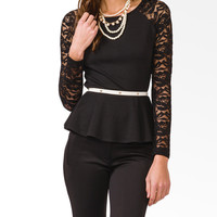Lace-Sleeve Peplum Top