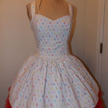 XO Multi-colored Custom Made To Order Geekery Pin Up Sweet Heart Halter Ruffled Mini Dress
