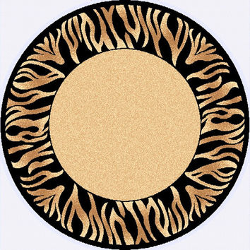 Dynamic Rugs Yazd Cream-Black Modern Round Area Rug