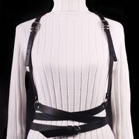 2018 Sexy Punk Harajuku Garters Faux Leather Body Bondage Sculpting Belts for  Women Female Harness Waist Belts Straps Suspenders