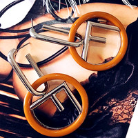 Free shipping-Fendi simple exaggerated letter ring earrings