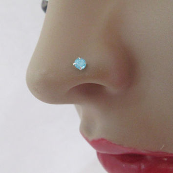 TINY GLOWING Turquoise Shade Nose Stud/925 Silver Nose Pin Stud With Ball End/ Sky Blue Nose Stud/Nose Stud/Spring Nose Studs/Aqua Nose Stud