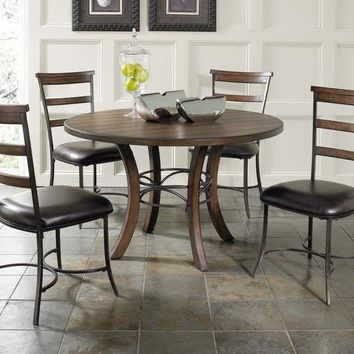 102009 Cameron 5-Piece Round Wood Base dining Set with Ladder Back Chairs - Free Shipping!