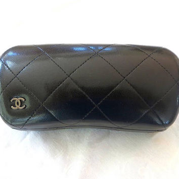 Vintage Chanel Eyeglass Case, Chanel Sunglass Holder, Quilted Calfskin Leather, Chanel Accessories