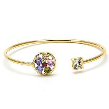 Gold Layered Individual Bangle, Flower Design, with Cubic Zirconia and Crystal, Golden Tone